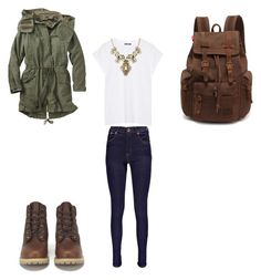 """""""Walk into the woods"""" by loriana-somville ❤ liked on Polyvore featuring Boohoo, Gap, Balmain and Timberland"""