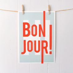 Bonjour Typography Art Print #Etsy #JonathanAdler #GetChicSweepstakes