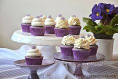 Vanilla Cupcake. Vanilla Buttercream. Violet Candy. Purple. Fiestaware.
