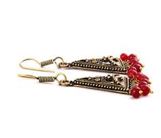 Maroon Beads Cherry Kiss  Earrings Online Shopping Store India : HISTORY OF EARRINGS JEWELLERY