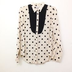 Madewell polka dotted tux silk shirt sz M Madewell Dotted Tux Shirt in size medium. Silk with polka dots, black bib style design. And button down front. Worn once and in mint condition. By Madewell's Broadway & Broome. Madewell Tops Button Down Shirts