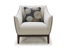 Dania - Contemporary with a classic feel. The Upstil chair features gentle curves and clean lines. Tailored in a beige fabric with grey piped edges and venge legs. Also available in a dark grey fabric with beige piping. Comes with one throw pillow.