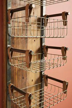 Wall Basket Storage, Baskets On Wall, Baskets For Storage, Wire Baskets, Storage Racks, Record Storage, Diy Storage Wall Shelves, Cool Storage Ideas, Diy Storage Projects