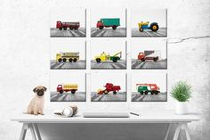 Truck print set Title: Set of 9 Toy Work Trucks Stretched Canvases ready to hang Size: Select from drop down menu These are from my collection of 1960s Vintage Lesney Matchbox Cars and are so cool and make awesome art. If youd like these printed on kodak endura photo paper click here... Boys Room Decor, Nursery Decor, Boy Room, Vintage Art Prints, Vintage Artwork, Awesome Art, Cool Art, Vintage Sports Decor, Matchbox Cars