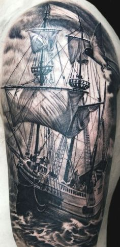Black and grey ship tattoo by Remis.  Great detail.