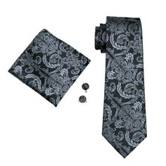 Mens Tie Black and Grey Paisley 100% Silk Classic Hanky Cufflinks Set