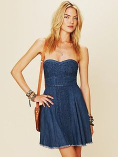 Denim Fit and Flare Tube Dress ($128)
