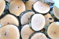 75 Rustic Wood Slices 3.5-4 diameter Coasters by GroundedWoodWorks