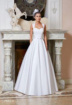 Suknie ślubne Fasson, Wedding dresses by Dorota Wróbel, Suknia Paula z ramiączkami plus pasek kokarda