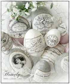 Decoupage Easter eggs, shabby chic