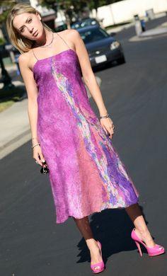 Nuno felted OOAK pink purple magenta elegant summer fancy silk sleeveless woman evening dress handmade unique wearable art wear women size S