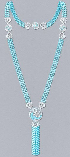 Bora Turquoise long necklace: Transformable long necklace, turquoise and diamonds. © Van Cleef & Arpels