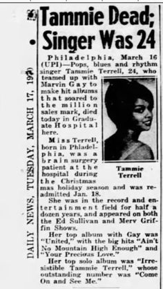 Newspaper Front Pages, Vintage Newspaper, Stephanie Mills, Ebony Magazine Cover, Tammi Terrell, Tamla Motown, Vintage Music Posters, Jet Magazine, Soul Artists