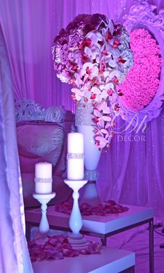 wedding reception stage by Design house Decor, NY Indian Wedding Decorations, Ceremony Decorations, Wedding Themes, Wedding Centerpieces, Wedding Designs, Candelabra Centerpiece, Wedding Props, Wedding Ideas, Wedding Stage