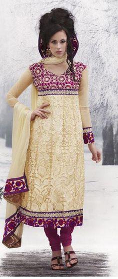 $83.00Cream and Pink Chiffon and Jacquard Full Sleeve Designer Salwar Kameez 16433