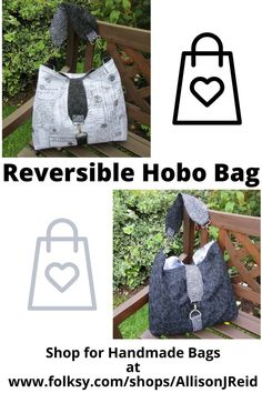 A large, squishy bag ideal for shopping trips, days out and College. New Every Morning, Pouch Pattern, Handmade Bags, Black Fabric, Hobo Bag, Bag Making, Black Cotton, Shopping Bag, Trips