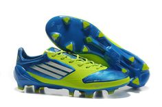 8eadc3474e Adidas F50 Adizero miCoach Leather FG UEFA light Blue Green Chuteiras De  Futebol Baratas