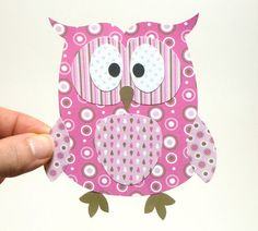 Paper Owl Printable - Pink Layered Papercraft Embellishment