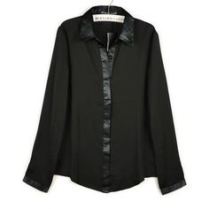 Black chiffon button down shirt ($43) ❤ liked on Polyvore