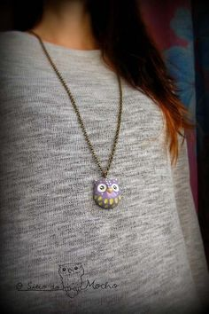 Owl necklace Violet and green Handmade by OSitiodoMocho on Etsy