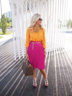 Bright shirt and skirt