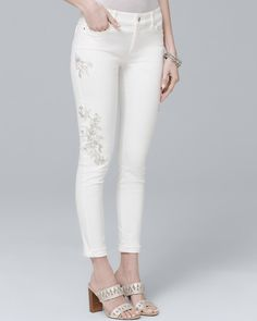 a2187cbdad Women s Embroidered Skinny Crop Jeans by White House Black Market Ankle  Bones