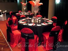 Red & Black tablescape- Night Circus party time