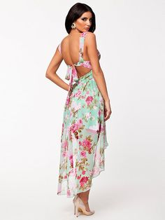 Floral High Low Dress - Nly One - Mint - Party Dresses - Clothing - Women - Nelly.com