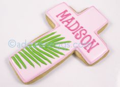 "Palm frond cross cookie - could do in yellow border & put ""He Lives"" instead of a name for Easter Sunday"