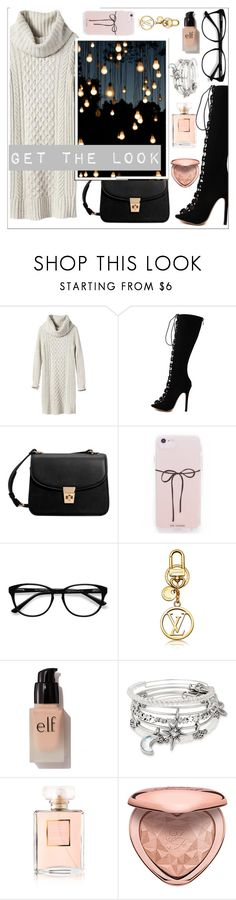 """Untitled #409"" by go-with-the-flow ❤ liked on Polyvore featuring Banana Republic, WithChic, MANGO, EyeBuyDirect.com, e.l.f., Alex and Ani, Chanel and Too Faced Cosmetics"