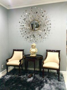 Foyer|Baker furniture constellation mirror by Thomas Pheasant| Ralph Laurent chairs