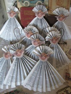 hand fans with clipart doll head and fan skirts. Christmas Angels, Christmas Crafts, Christmas Ideas, Putz Houses, Paper Crafts, Diy Crafts, Doll Head, Origami, Clip Art