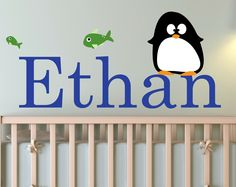 Children Wall Decal Baby Penguins with Name Vinyl decal. $39.00, via Etsy.