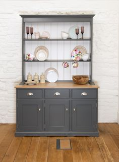 Hide mess (and display the good china) with this #Dresser in #Grey & Fossil