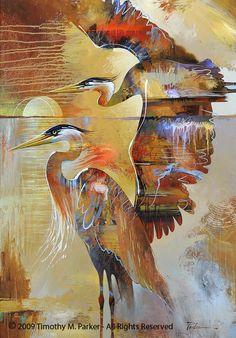 """Abstract Bird Painting, Contemporary Art, """"Blue Heron Sunset"""" Artist Tim Parker - Art2D Gallery, Modern Art Original Paintings and Fine Art Prints"""