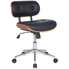 Adeco Trading Bentwood Mid-Back Task Chair, Black