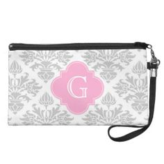 Lg Gray White Floral Damask #3 Pink Monogram Label Wristlet Clutches In our offer link above you will seeDiscount Deals          	Lg Gray White Floral Damask #3 Pink Monogram Label Wristlet Clutches Online Secure Check out Quick and Easy...
