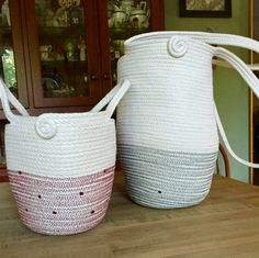 Functional Beauty sewn by Andrea Spadola in Burgundy & Evergreen Storage Tubs, Rope Basket, Clothes Line, Cotton Rope, Crochet Home, Evergreen, Bowls, Baskets, Fiber