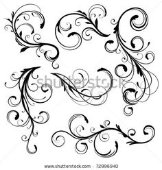 stock vector : Vector illustration set of swirling flourishes decorative floral elements