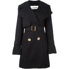 See By Chloé short trench coat ($570) ❤ liked on Polyvore featuring outerwear, coats, blue, trench coat, blue double breasted coat, short coat, belted coat and double-breasted trench coat