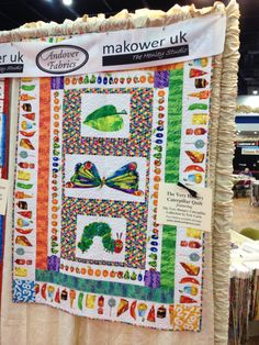 The Very Hungry Caterpillar quilt, featuring Eric Carle's The Very Hungry Caterpillar collection. Hungry Caterpillar Nursery, Caterpillar Craft, Very Hungry Caterpillar, Andover Fabrics, Eric Carle, Quilting Ideas, Nursery Ideas, Fun Projects, Baby Quilts
