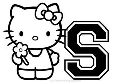 Hello Kitty Coloring Alphabet for. Easy Coloring Pages, Alphabet Coloring Pages, Hello Kitty Colouring Pages, Hollow Kitty, Little Boy Blue, Hello Kitty Birthday, Initial Letters, Paper Dolls, Gothic