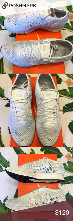 791a212546bd Nike White Flyknit Racer New Platinum White Nike Flyknit Racer. Perfect for  everyday or working out   running   training. Men s size 5 or women s Nike  Shoes ...