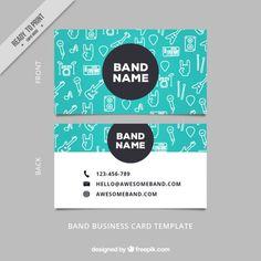 Esboços do cartão de visita elementos musicais Vetor grátis