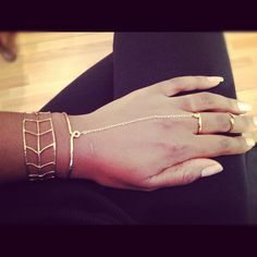 Hammered Bronze Love Knot Finger Bracelet, Ring and Cuff.