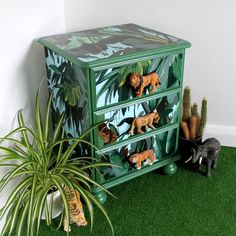 Upcycled Furniture, Children's Bedside Chest of Upcycled Drawers – Perfect for a Safari themed Bedroom or Nursery. Candy Andrews upcycled furniture with Candy Queen Designs cupboard knobs. Safari Room, Safari Theme Bedroom, Bedroom Themes, Safari Nursery, Bedroom Ideas, Childrens Bedroom Furniture, Painted Bedroom Furniture, Kids Furniture, Childrens Jungle Bedrooms