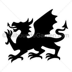 Welsh dragon silhouette clip art. Download free versions of the image in EPS, JPG, PDF, PNG, and SVG formats at http://silhouettegarden.com/download/welsh-dragon-silhouette/