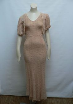1930s peach cream lace gown with jacket/ 30s by secreteyesonly, $225.00