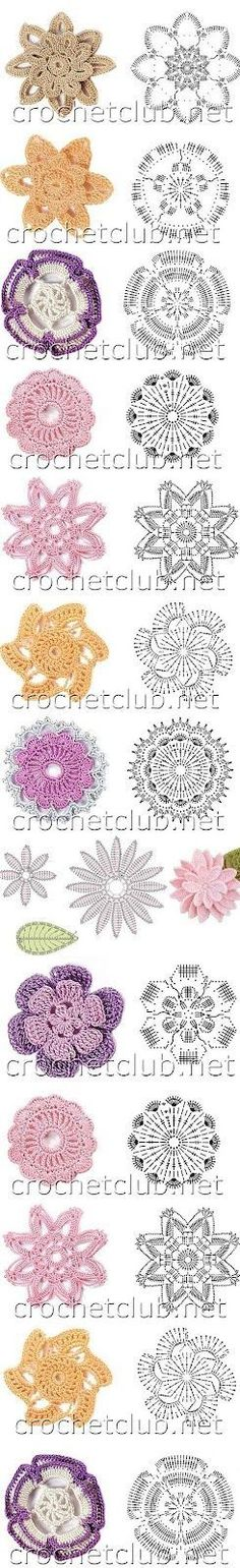 Lots of crochet flower motifs.