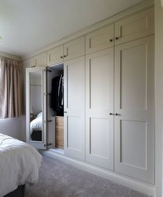 Bedroom wardrobe - Fitted shaker wardrobes with mirrored doors and oak internal drawers Spray finished in farrow and ball 'matchstick' Burton on Trent Bedroom Built In Wardrobe, Bedroom Built Ins, Fitted Bedroom Furniture, Fitted Bedrooms, Bedroom Closet Design, Diy Wardrobe, Closet Designs, Home Bedroom, Girl Bedrooms